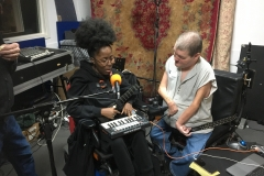 Miss Jacqui and John Kelly in the studio